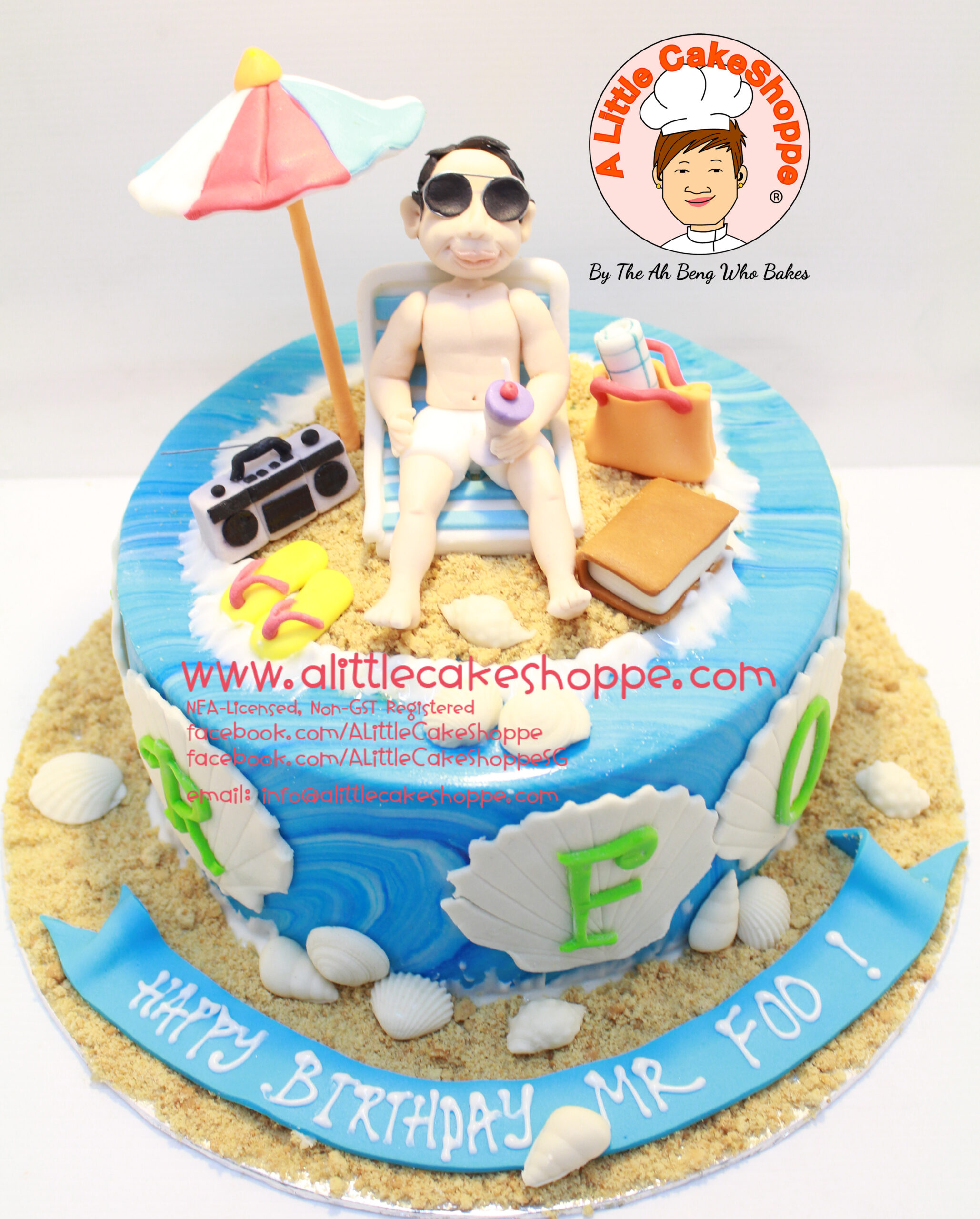 Best Customised Cake Shop Singapore custom cake 2D 3D birthday cake cupcakes desserts wedding corporate events anniversary 1st birthday 21st birthday fondant fresh cream buttercream cakes alittlecakeshoppe a little cake shoppe compliments review singapore bakers SG cake shop cakeshop ah beng who bakes beach