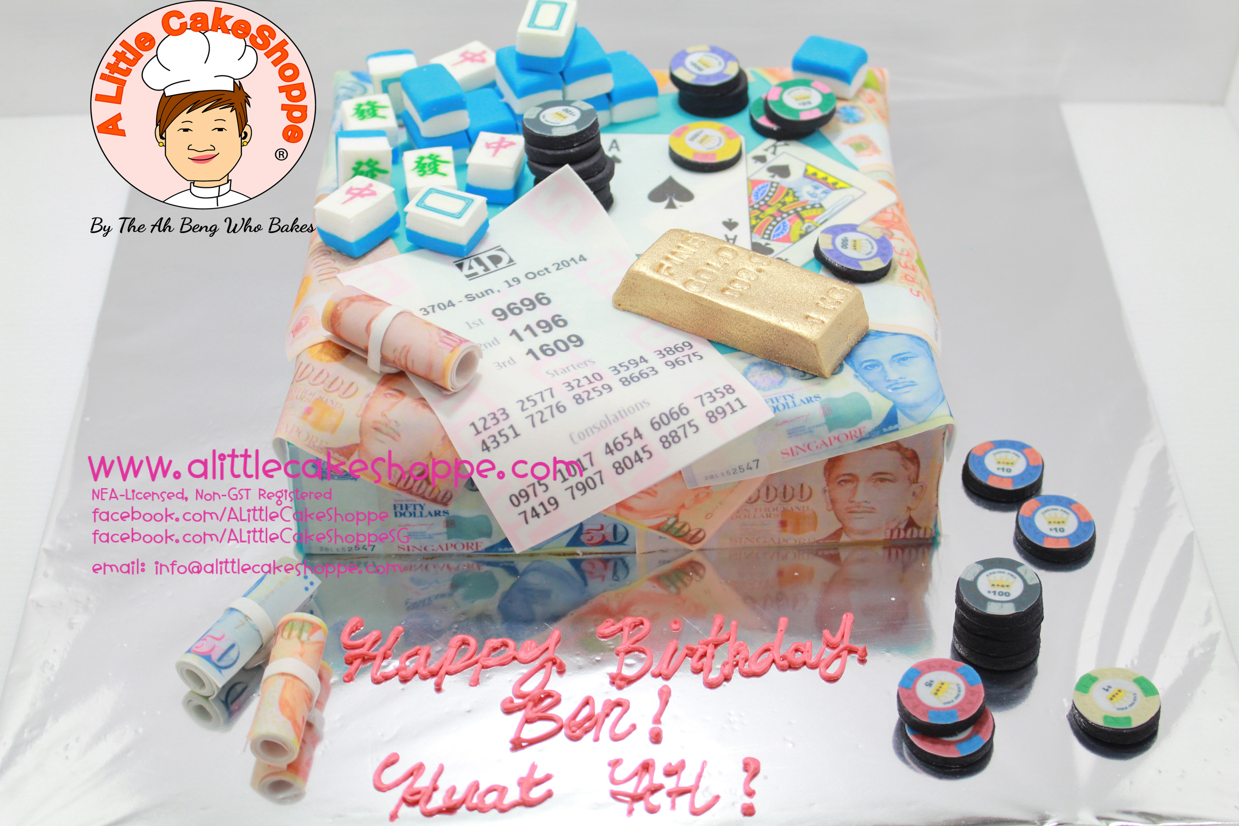 Best Customised Cake Shop Singapore custom cake 2D 3D birthday cake cupcakes desserts wedding corporate events anniversary 1st birthday 21st birthday fondant fresh cream buttercream cakes alittlecakeshoppe a little cake shoppe compliments review singapore bakers SG cake shop cakeshop ah beng who bakes gamblng mahjong money cake