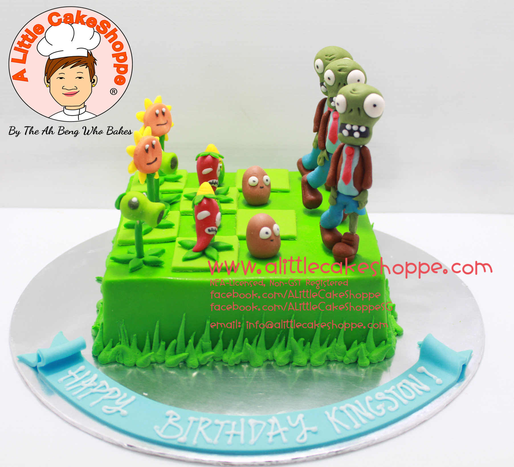 Best Customised Cake Shop Singapore custom cake 2D 3D birthday cake cupcakes desserts wedding corporate events anniversary 1st birthday 21st birthday fondant fresh cream buttercream cakes alittlecakeshoppe a little cake shoppe compliments review singapore bakers SG cake shop cakeshop ah beng who bakes plants and zombies