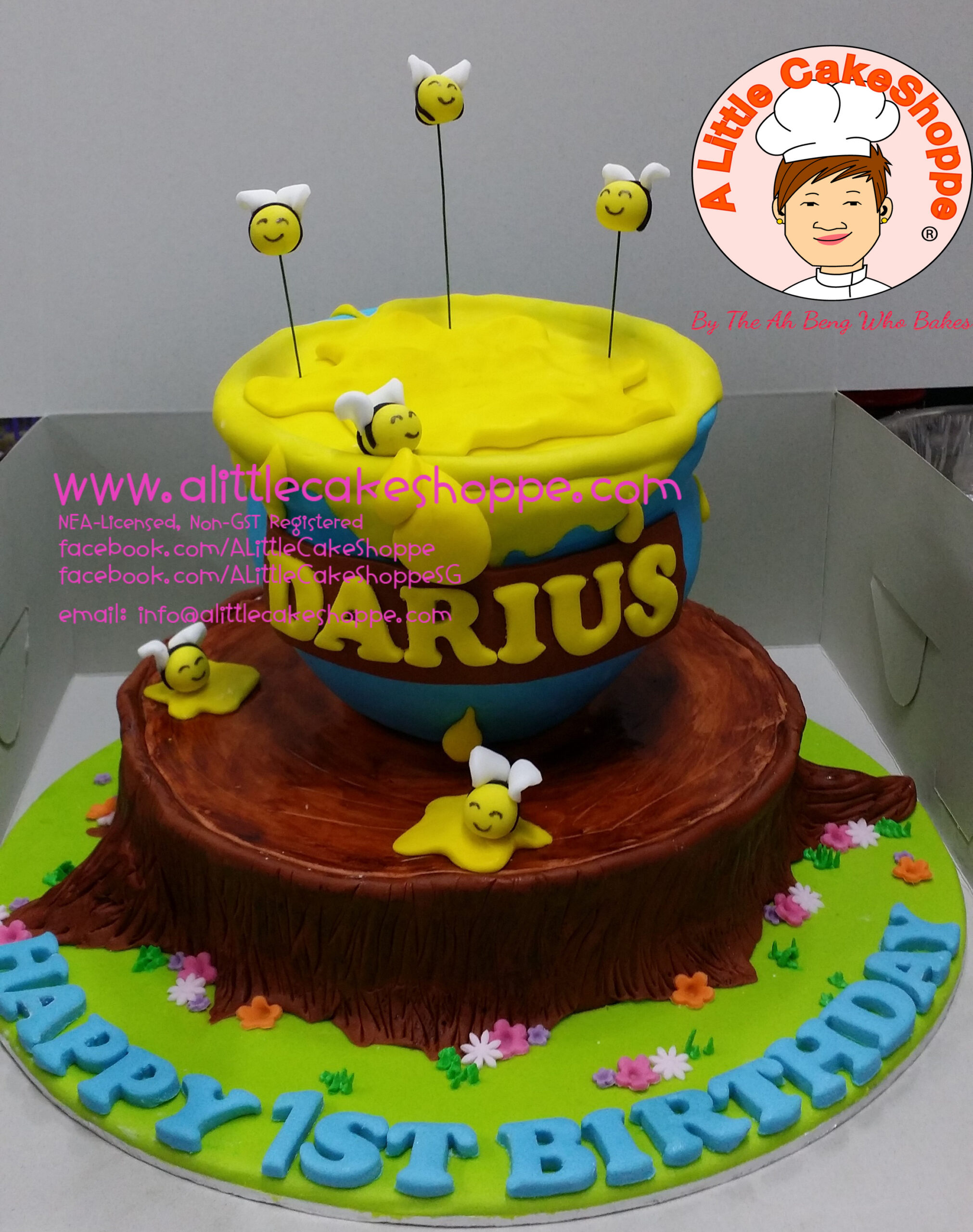Best Customised Cake Singapore custom cake 2D 3D birthday cake cupcakes wedding corporate events anniversary fondant fresh cream buttercream cakes alittlecakeshoppe compliments review singapore bakers SG cakeshop ah beng who bakes winnie the pooh honey pots and bees